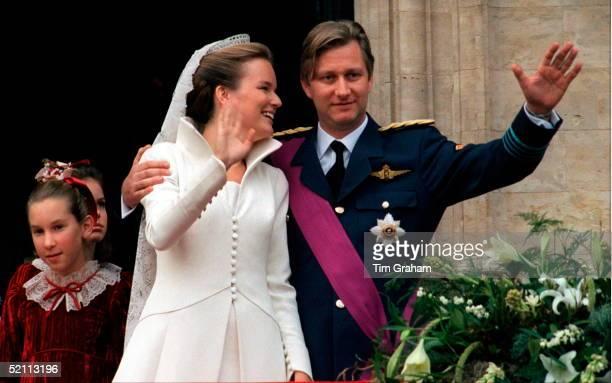 The Wedding Of Prince Philippe Of Belgium And Miss Mathilde D'udekem D'acoz. Mathilde Gazes Fondly At Her New Husband.