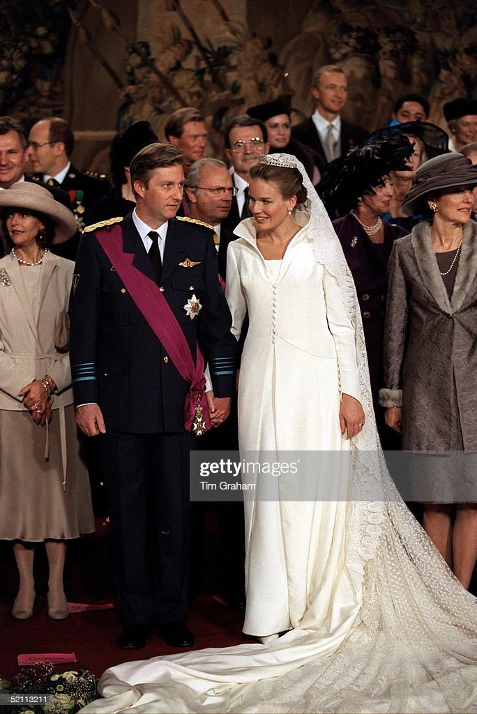 The Wedding Of Prince Philippe Of Belgium And Miss Mathilde D'udekem D'acoz Bride And Groom With Their Families And Friends.