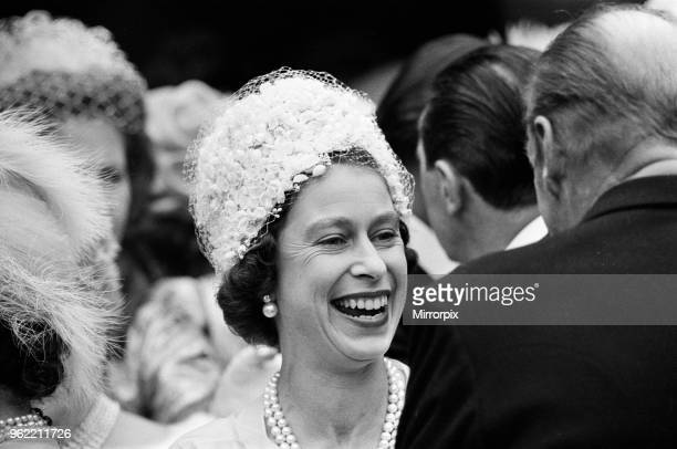 The wedding of Princess Alexandra of Kent and Angus Ogilvy at Westminster Abbey Pictured is guest Queen Elizabeth II 24th April 1963