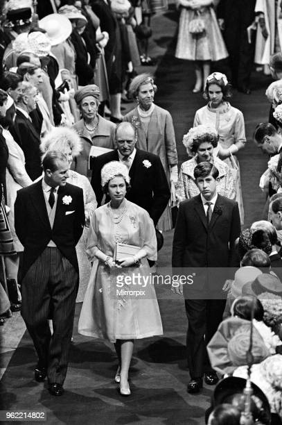 The wedding of Princess Alexandra of Kent and Angus Ogilvy at Westminster Abbey. Guests Prince Philip, Queen Elizabeth II and Prince Charles arrive,...