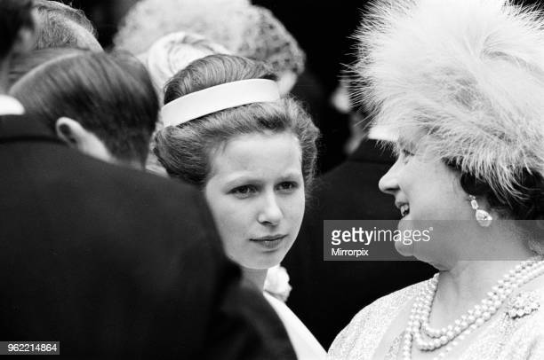 The wedding of Princess Alexandra of Kent and Angus Ogilvy at Westminster Abbey Pictured is Bridesmaid Anne Princess Royal with her grandmother Queen...
