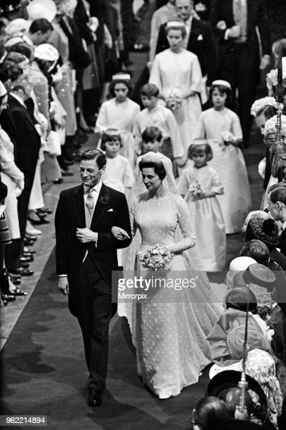 The wedding of Princess Alexandra of Kent and Angus Ogilvy at Westminster Abbey, 24th April 1963.