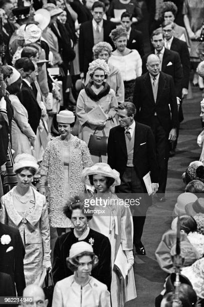 The wedding of Princess Alexandra of Kent and Angus Ogilvy at Westminster Abbey Guests including Princes Margaret and Lord Snowdon 24th April 1963