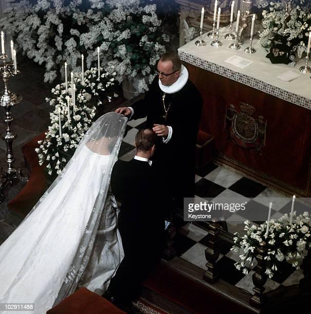 The wedding of Princess Benedikte of Denmark to Richard 6th Prince of SaynWittgensteinBerleburg at Fredensborg Palace Fredensborg Denmark 3 February...
