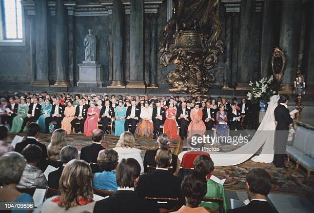 The wedding of Princess Christina of Sweden and Tord Magnuson held at the chapel at the Royal Palace in Stockholm on June 15 1974