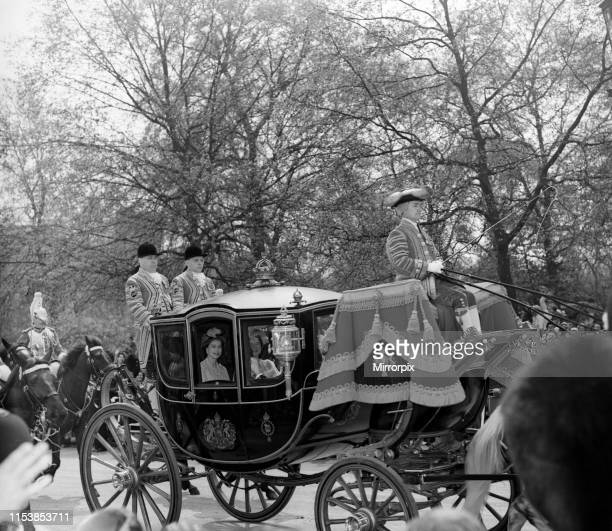 The wedding of Princess Margaret and Antony Armstrong-Jones; pictured, Queen Elizabeth II and The Queen Mother in a carriage. 6th May 1960.