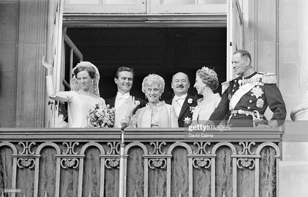 The wedding of Princess Margrethe (later Margrethe II of Denmark) to French diplomat Henri de Laborde de Monpezat in Copenhagen, 10th June 1967. With them on the balcony are the bride's parents, King Frederick IX (right) and Queen Ingrid.