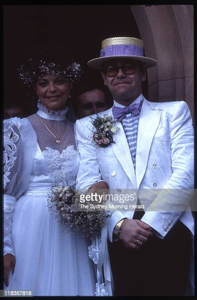 The wedding of Renate Blauel and Elton John at St Mark's Anglican Church Darling Point Sydney 14 February 1984