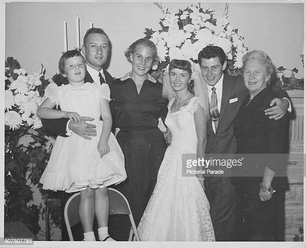 The wedding of singer Eddie Fisher and actress Debbie Reynolds with their guests including Jenny Grossinger 1955