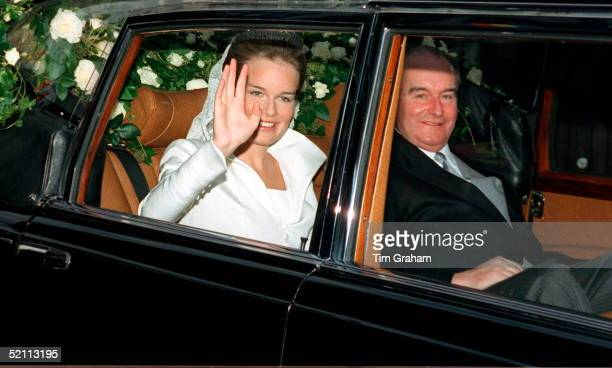 The Wedding Of The Crown Prince Of Belgium The Bride Miss Mathilde D'udekem D'acoz Arriving At The Town Hall With Her Father Patrick D'udekem D'acoz