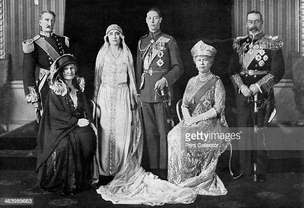 The wedding of the Duke of York and Lady Elizabeth BowesLyon 1923 The bride and bridegroom and their parents The Earl and Countess of Strathmore the...