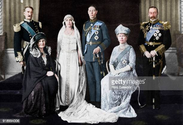 The wedding of the Duke of York and Lady Elizabeth Bowes-Lyon, 1923. The bride and bridegroom and their parents. The Earl and Countess of Strathmore,...