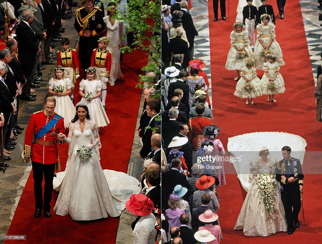 In This Composite Image A Comparison Has Been Made Between The Royal Wedding Cathedral Aisle Walks