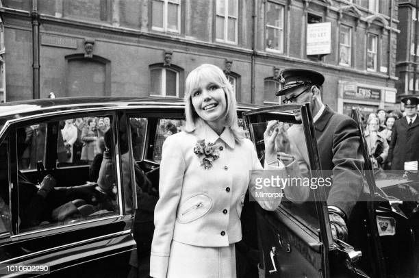 The wedding of Tony Blackburn and Tessa Wyatt at Caxton Hall, London. The bride arrives, 2nd March 1972.