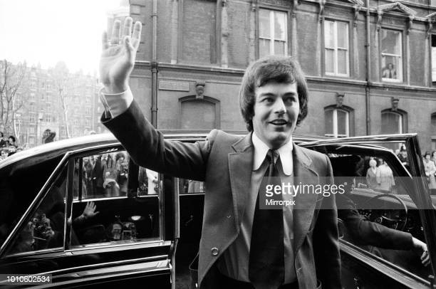 The wedding of Tony Blackburn and Tessa Wyatt at Caxton Hall, London. The Groom arrives, 2nd March 1972.