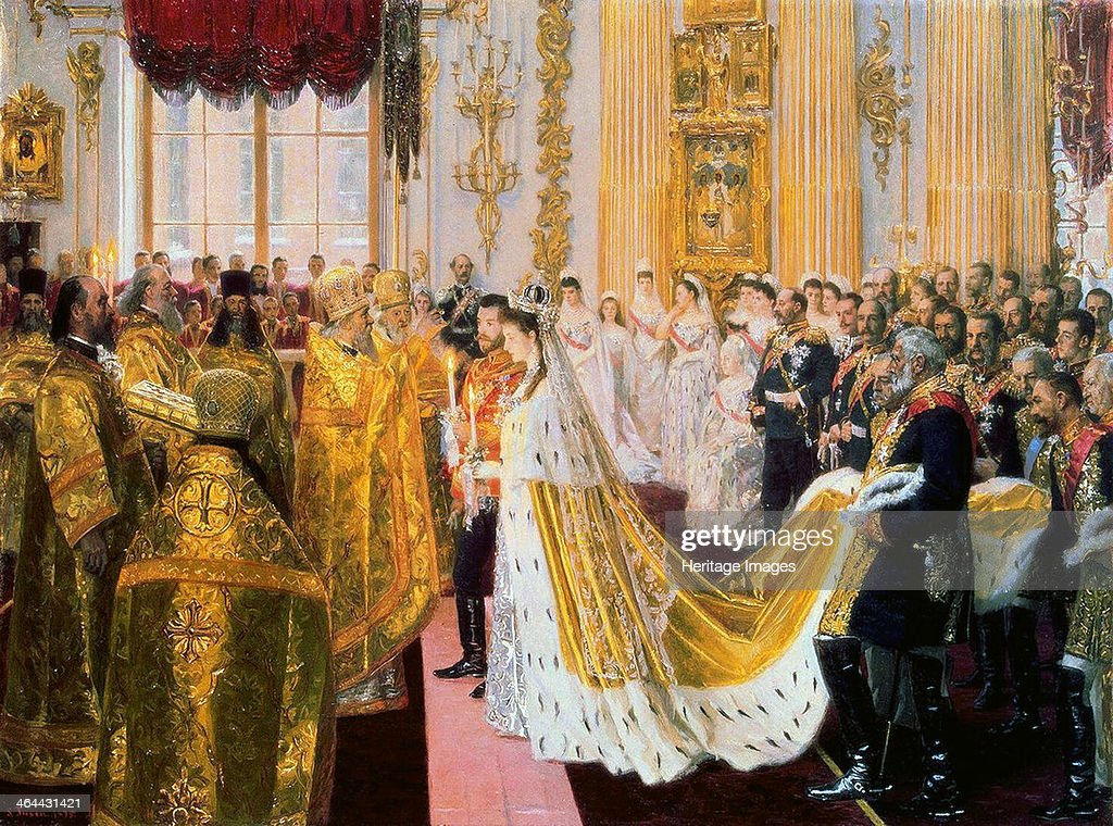 The wedding of Tsar Nicholas II and the Princess Alix of Hesse-Darmstadt on November 26, 1894. : News Photo