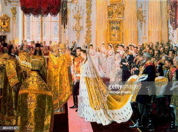 The wedding of Tsar Nicholas II and the Princess Alix of HesseDarmstadt on November 26 1894 Tuxen Laurits Regner Found in the collection of the State...