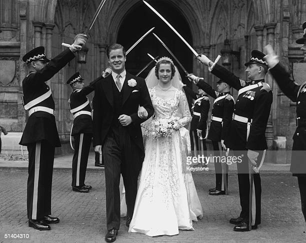 The wedding of Viscount Althorp and the Hon Frances Roche at Westminster Abbey 1st June 1954 The bride and groom parents of Diana Princess of Wales...