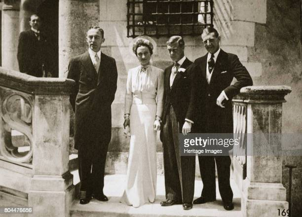 The wedding party at the marriage of the Duchess and Duke of Windsor Château de Candé France 3 June 1937 Edward VIII later The Duke of Windsor King...