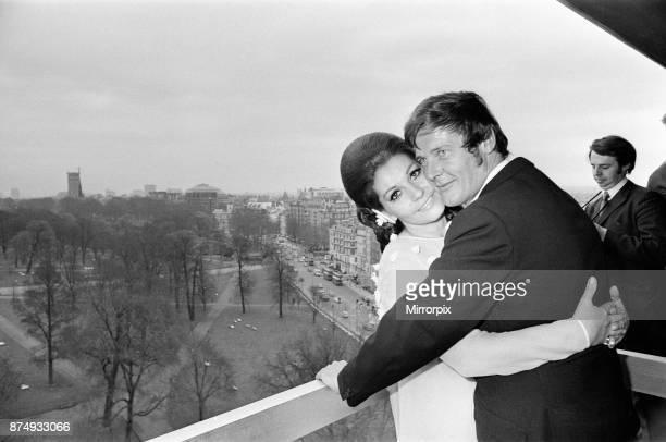 The wedding reception of Roger Moore and Luisa Mattioli at the Royal Garden Hotel, Kensington, 11th April 1969.