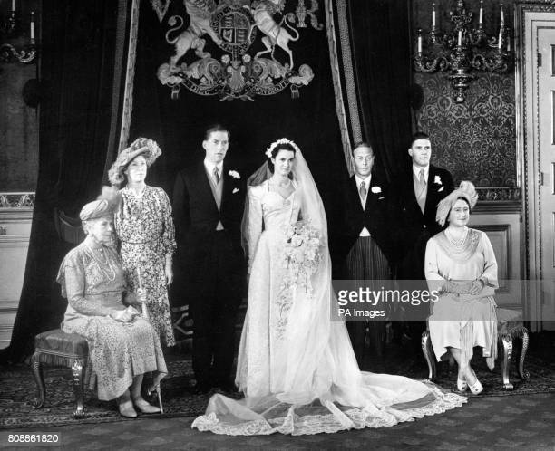 The wedding reception of the Earl of Harewood and Marion Stein at St James Palace Left to right Queen Mary the Princess Royal the bridle couple King...
