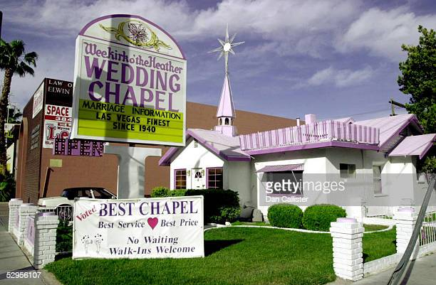 The Weekirk o' the Heather Wedding Chapel advertises itself as the finest chapel in Las Vegas since 1940 on a sign outside its lavender and white...