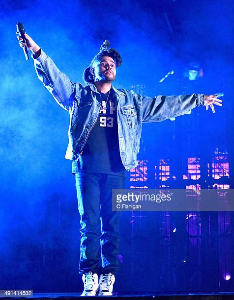 The Weeknd aka Abel Tesfaye performs during the 2015 ACL Music Festival at Zilker Park on October 4 2015 in Austin Texas