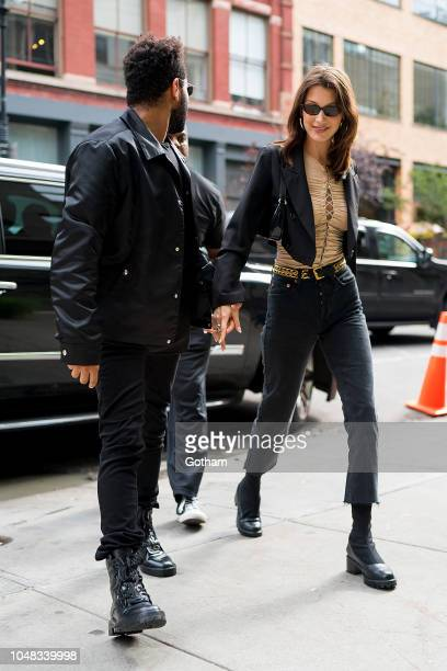The Weeknd and Bella Hadid are seen in SoHo on October 9 2018 in New York City