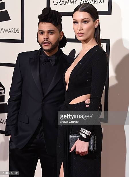 The Weeknd and Bella Hadid arrives at the The 58th GRAMMY Awards at Staples Center on February 15 2016 in Los Angeles City