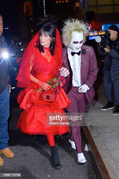 The Weeknd and Bella Hadid as Beetlejuice is seen at a Heidi Klum Halloween event on October 31 2018 in New York City