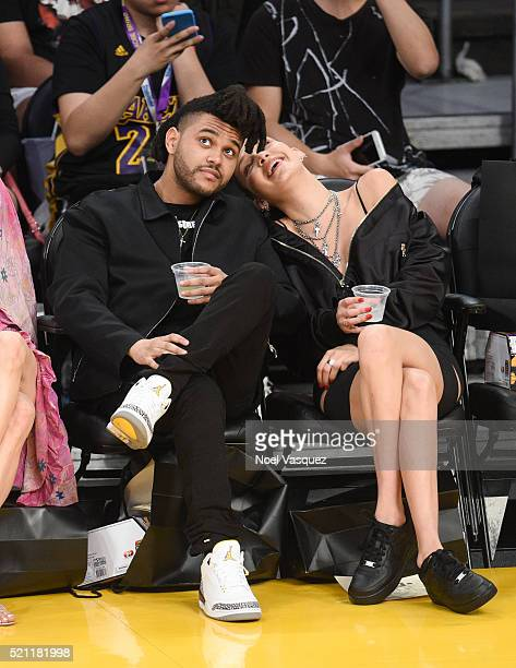 The Weeknd and Bella Hadid attend a basketball game between the Utah Jazz and the Los Angeles Lakers at Staples Center on April 13 2016 in Los...