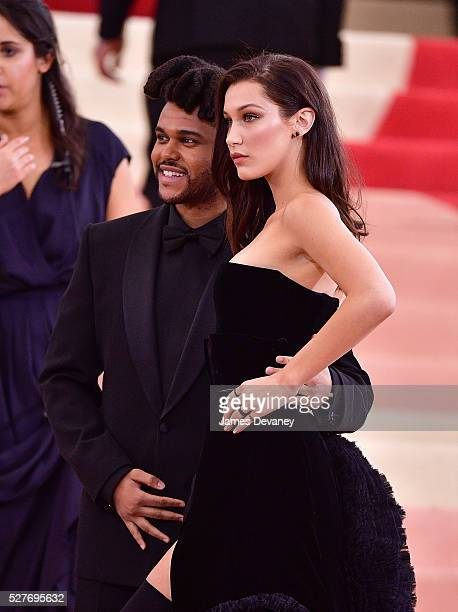 The Weeknd and Bella Hadid attend 'Manus x Machina Fashion in an Age of Technology' Costume Institute Gala at Metropolitan Museum of Art on May 2...