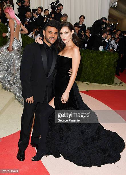 The Weeknd and Bella Hadid attend the 'Manus x Machina Fashion in an Age of Technology' Costume Institute Gala at the Metropolitan Museum of Art on...
