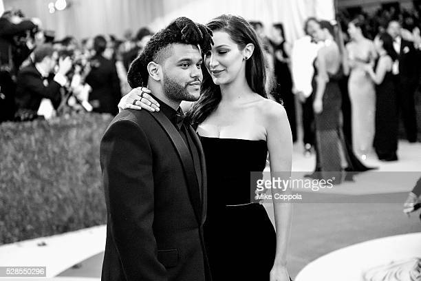 The Weeknd and Bella Hadid attend the 'Manus x Machina Fashion In An Age Of Technology' Costume Institute Gala at Metropolitan Museum of Art on May 2...