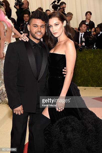 The Weeknd and Bella Hadid attends 'Manus x Machina Fashion In An Age Of Technology' Costume Institute Gala at Metropolitan Museum of Art on May 2...