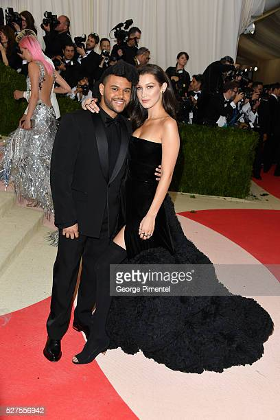 The Weeknd and Bella Hadid attends the 'Manus x Machina Fashion in an Age of Technology' Costume Institute Gala at the Metropolitan Museum of Art on...