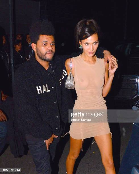 The Weeknd and Bella Hadid seen leaving a nightclub in Manhattan on November 8, 2018 in New York City.