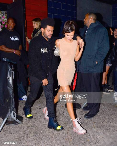 The Weeknd and Bella Hadid seen leaving a nightclub in Manhattan on November 8 2018 in New York City