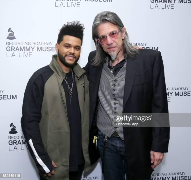 The Weeknd and Executive Director of the GRAMMY Museum Scott Goldman at A Special Performance By The Weeknd at The GRAMMY Museum on August 15 2017 in...