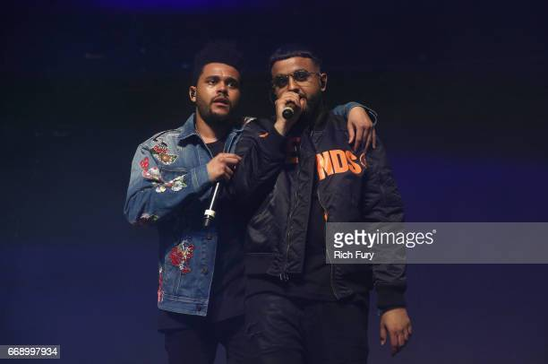 The Weeknd and Nav perform onstage at the Gobi tent during day 2 of the Coachella Valley Music And Arts Festival at Empire Polo Club on April 15 2017...