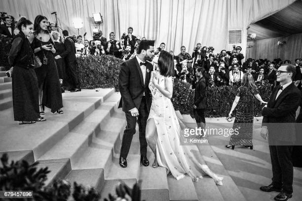 The Weeknd and Selena Gomez attend Rei Kawakubo/Comme des Garcons Art Of The InBetween Costume Institute Gala at Metropolitan Museum of Art on May 1...