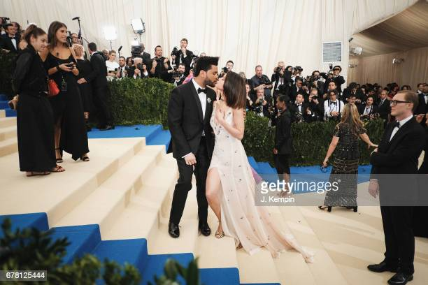 The Weeknd and Selena Gomez attend the Rei Kawakubo/Comme des Garcons Art Of The InBetween Costume Institute Gala at Metropolitan Museum of Art on...