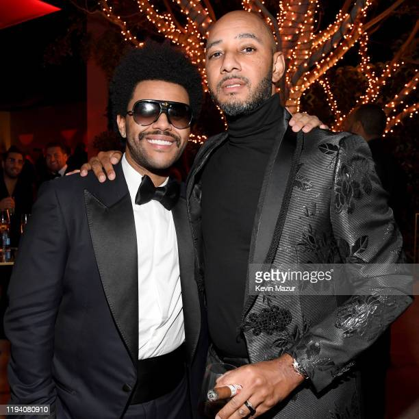The Weeknd and Swizz Beatz attend Sean Combs 50th Birthday Bash presented by Ciroc Vodka on December 14 2019 in Los Angeles California