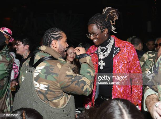 The Weeknd and Young Thug attend as The Weeknd celebrates his birthday at TAO Downtown with Remy Martin at TAO Downtown on February 15 2019 in New...