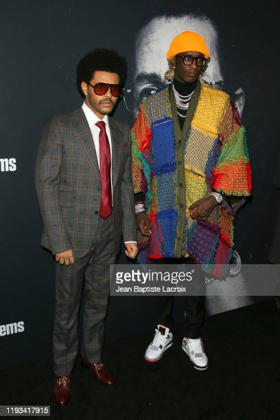 The Weeknd and Young Thug attend the premiere of A24's Uncut Gems at The Dome at Arclight Hollywood on December 11 2019 in Hollywood California