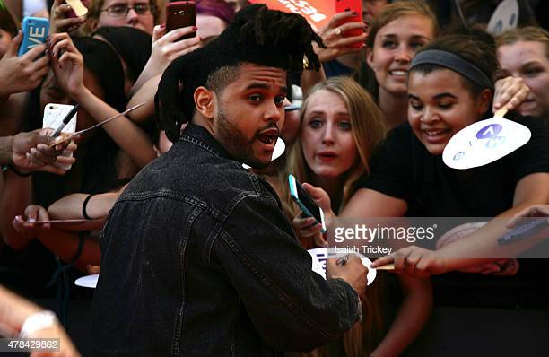 The Weeknd arrives at the 2015 MuchMusic Video Awards at MuchMusic HQ on June 21 2015 in Toronto Canada