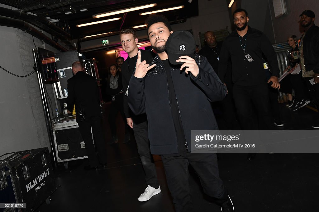 The Weeknd is seen backstage during the MTV Europe Music Awards 2016 on November 6, 2016 in Rotterdam, Netherlands.
