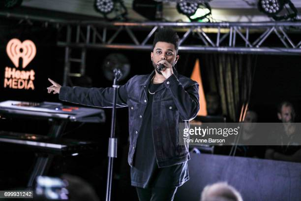 The Weeknd performs at a VIP dinner party hosted by iHeartMedia and MediaLink at Hotel du CapEdenRock in Antibes France during the Cannes Lions...
