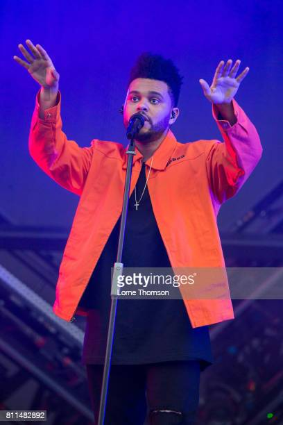 The Weeknd performs during Day 3 of the Wireless Festival at Finsbury Park on July 9 2017 in London England