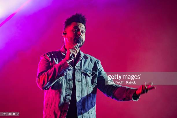The Weeknd performs during first Lollapalooza Festival in France at Hippodrome de Longchamp on July 22 2017 in Paris France